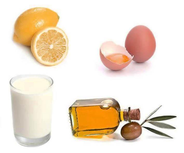 Маска для волос оливковое масло, молоко, лимон, желток яйца